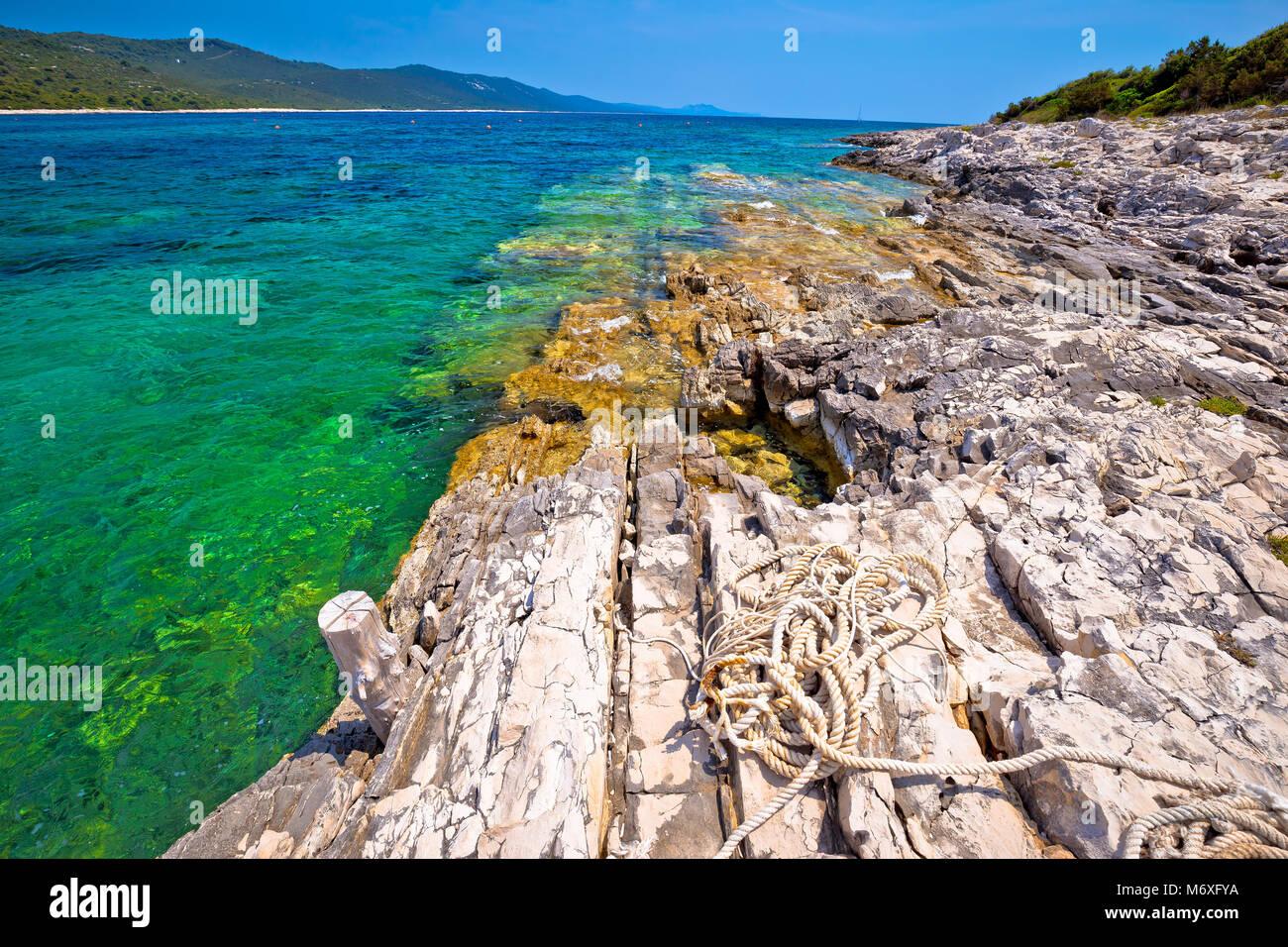Idyllic rocky beach Sakarun on Dugi Otok island, archipelago of Dalmatia, Croatia - Stock Image