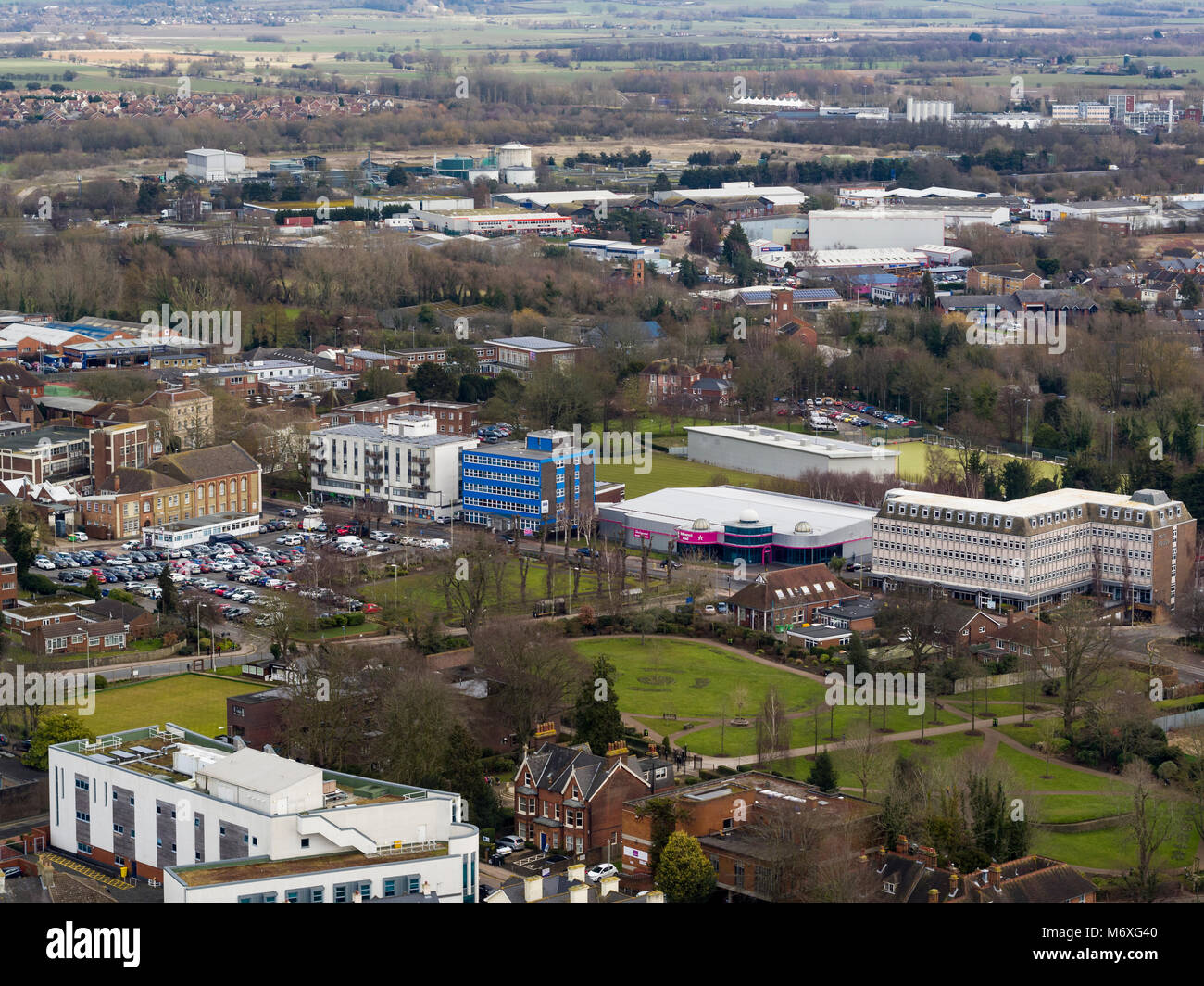 Aerial view of Ashford, Kent, UK Stock Photo
