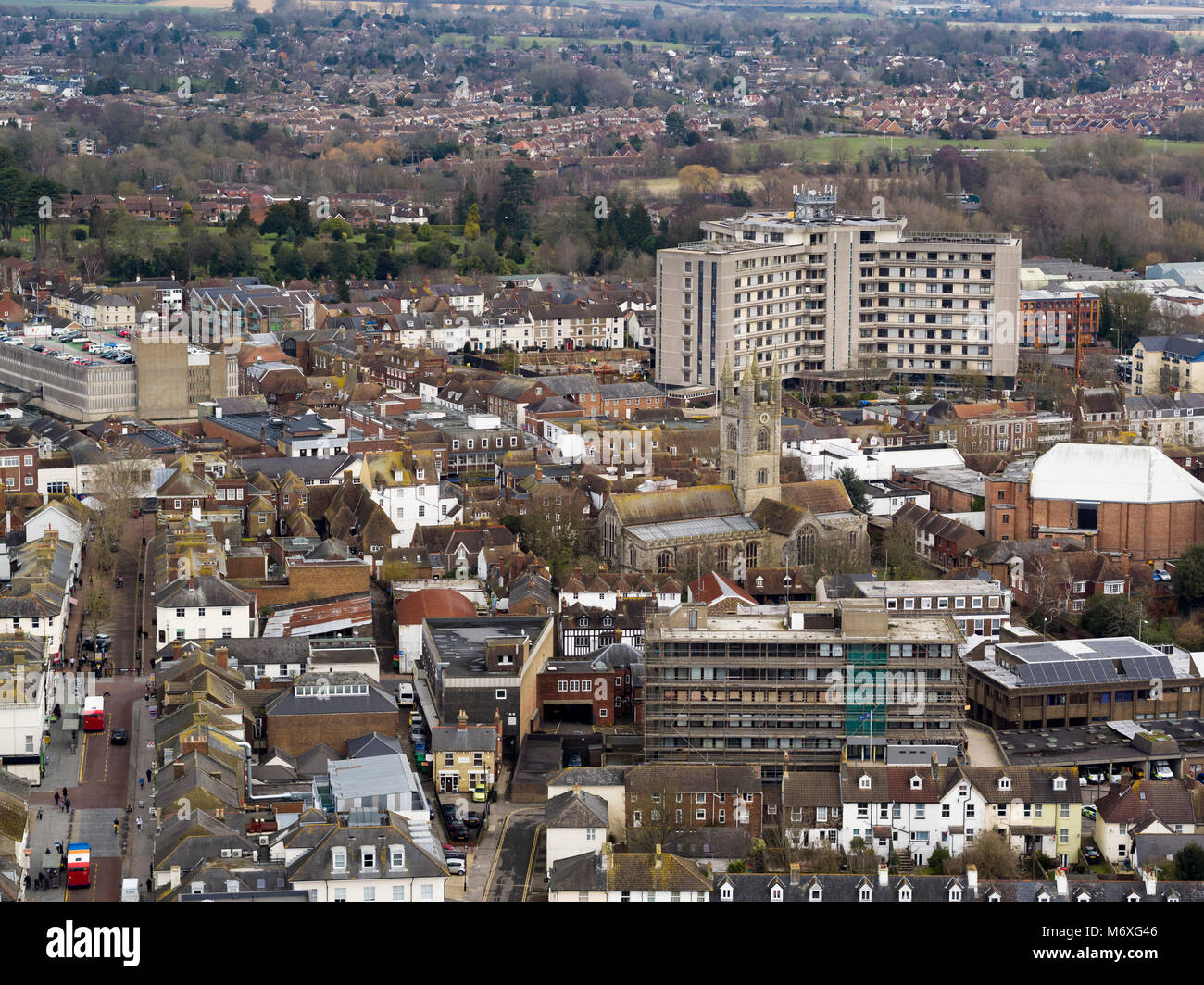 Aerial view of Ashford, Kent, UK - Stock Image