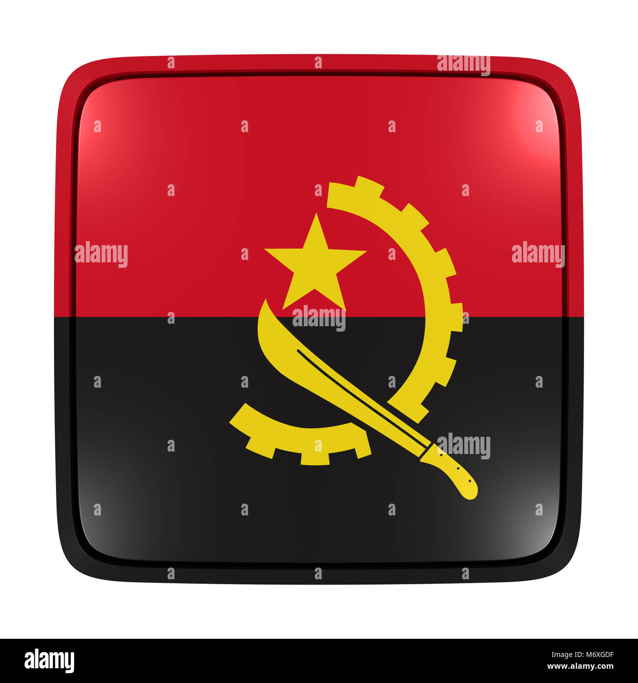3d rendering of an Angola flag icon. Isolated on white background. - Stock Image