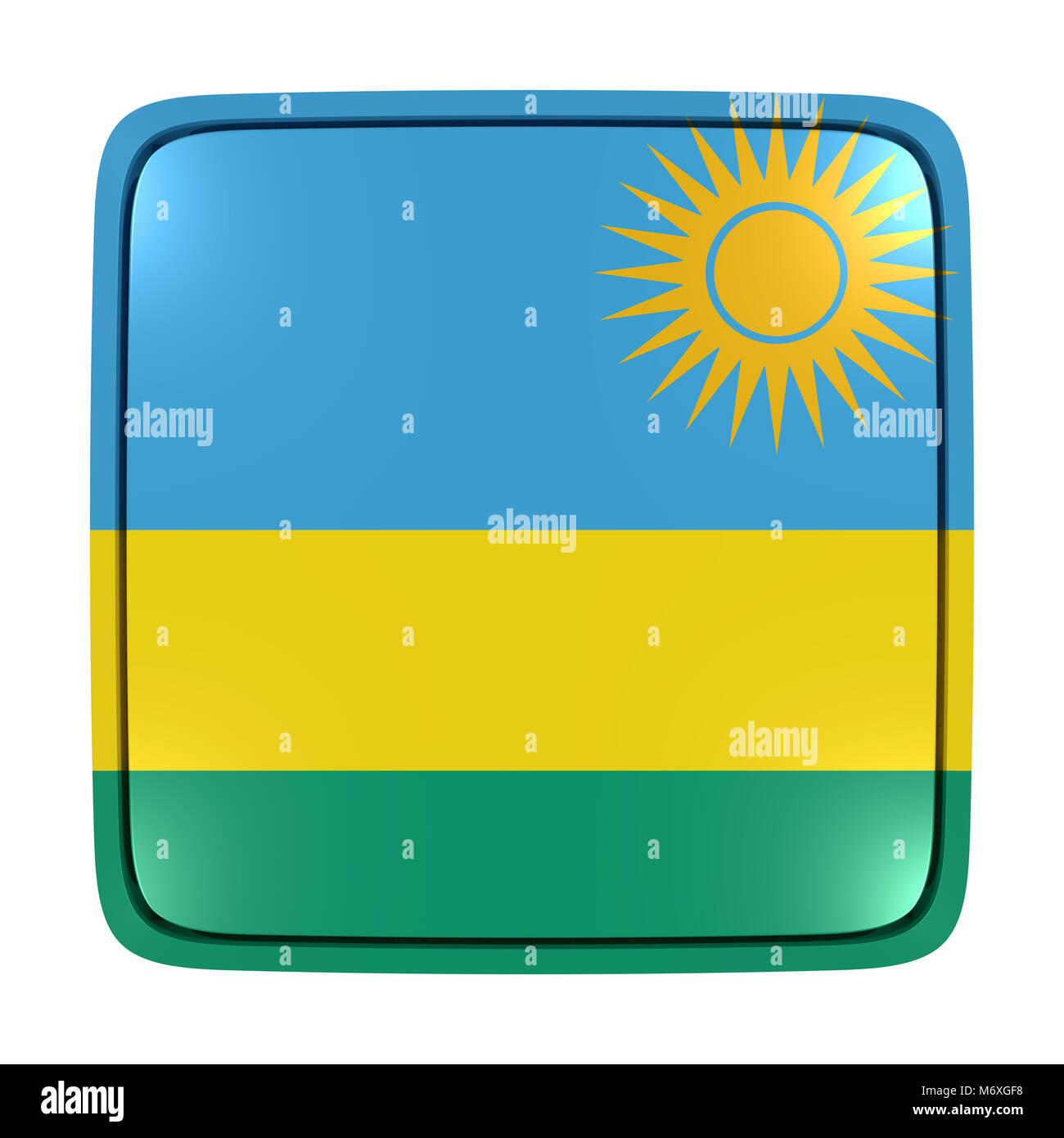 3d rendering of a Republic of Rwanda flag icon. Isolated on white background. - Stock Image