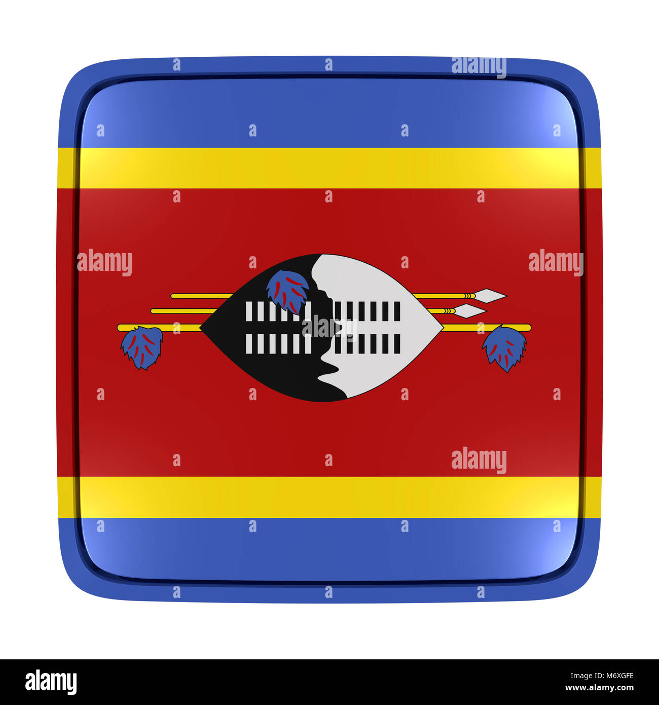 3d rendering of a Kingdom of Swaziland flag icon. Isolated on white background. Stock Photo
