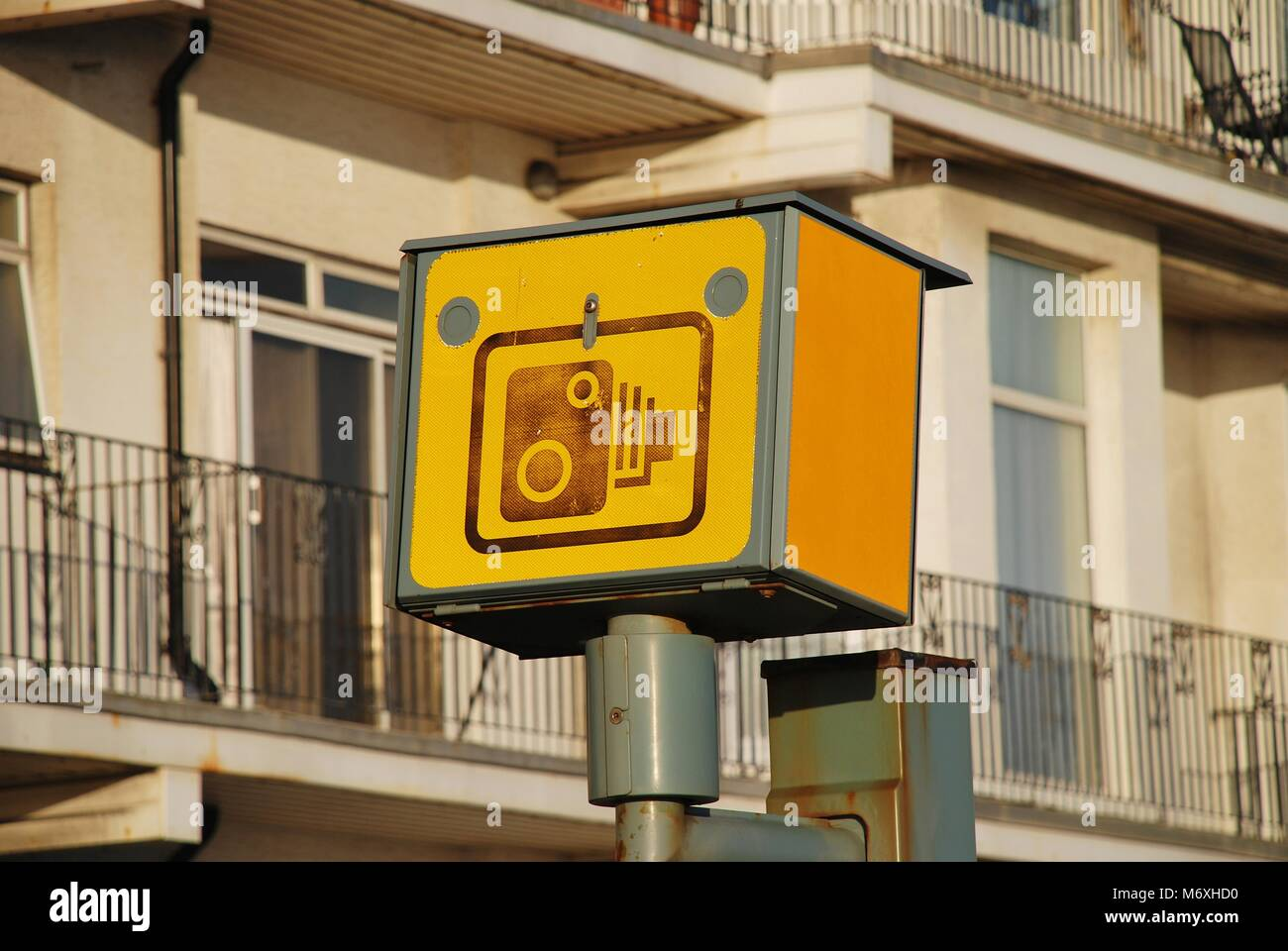 A road traffic speed camera on the seafront at Hastings in East Sussex, England on January 1, 2013. - Stock Image