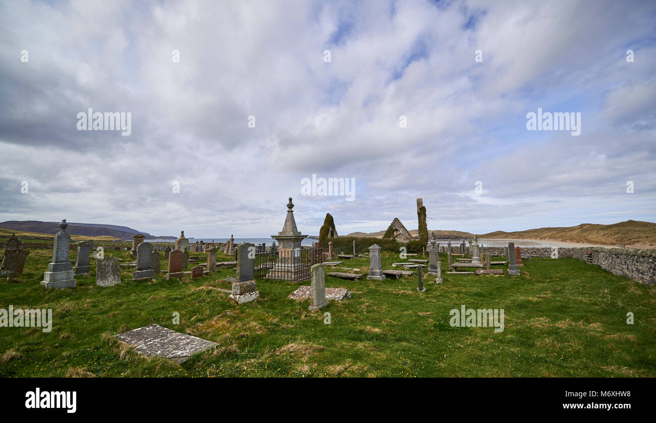 Balnakiel Cemetary, a beautiful location near Durness right at the northern tip of Scotland. Situated right next Stock Photo