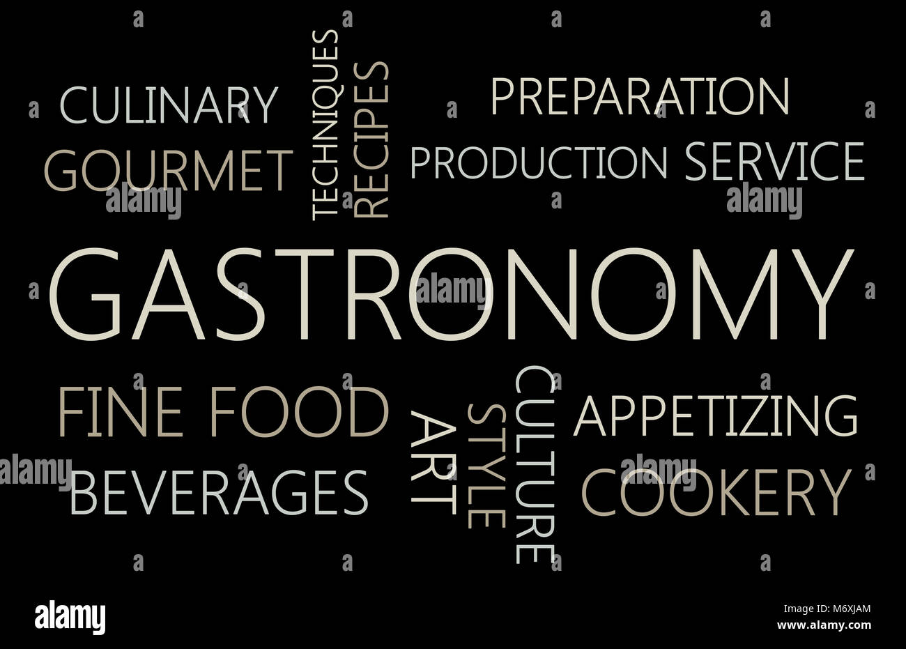 GASTRONOMY. Word cloud concept on black background - Stock Image