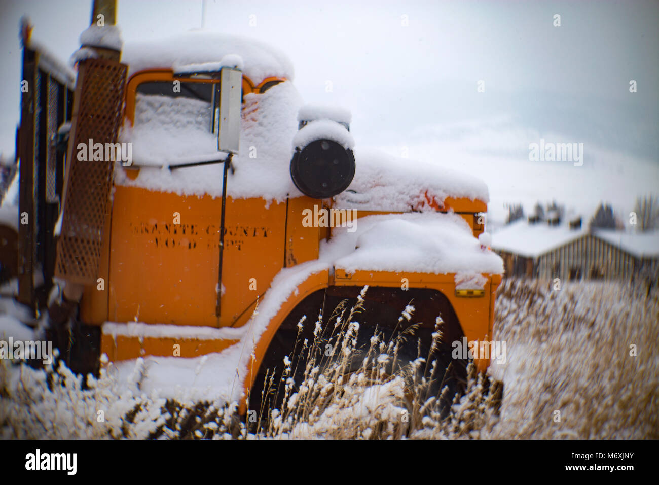 A 1975 Dodge Dump Truck In A Snow Covered Field In Philipsburg Stock Photo Alamy