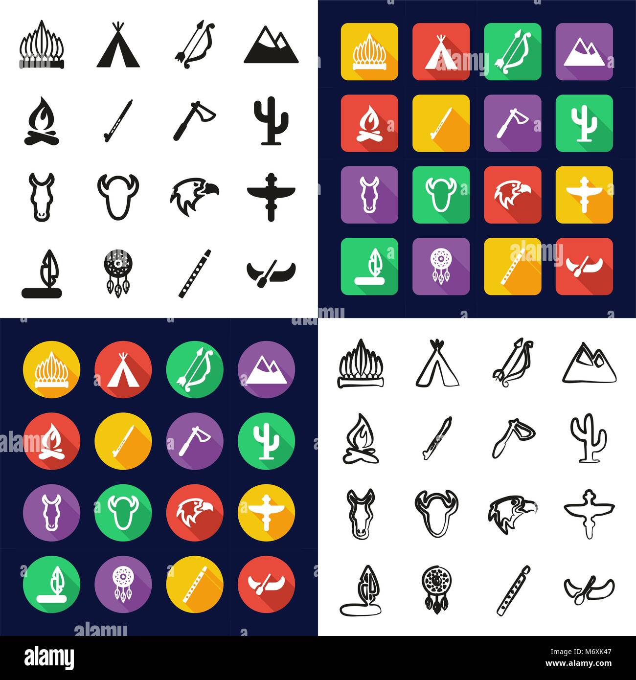 Native American All in One Icons Black & White Color Flat Design Freehand Set - Stock Vector