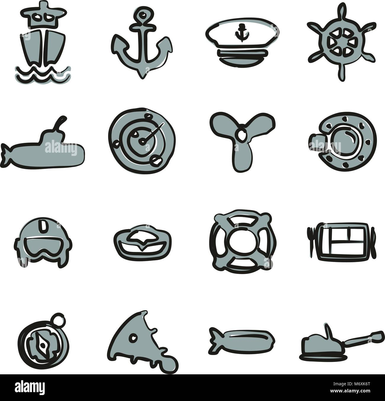 Navy Icons Freehand 2 Color - Stock Vector