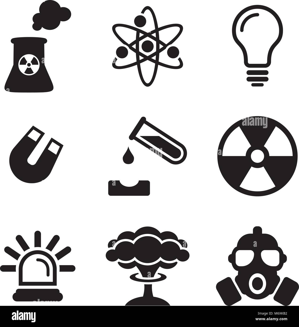 Nuclear Power Plant Icons - Stock Vector