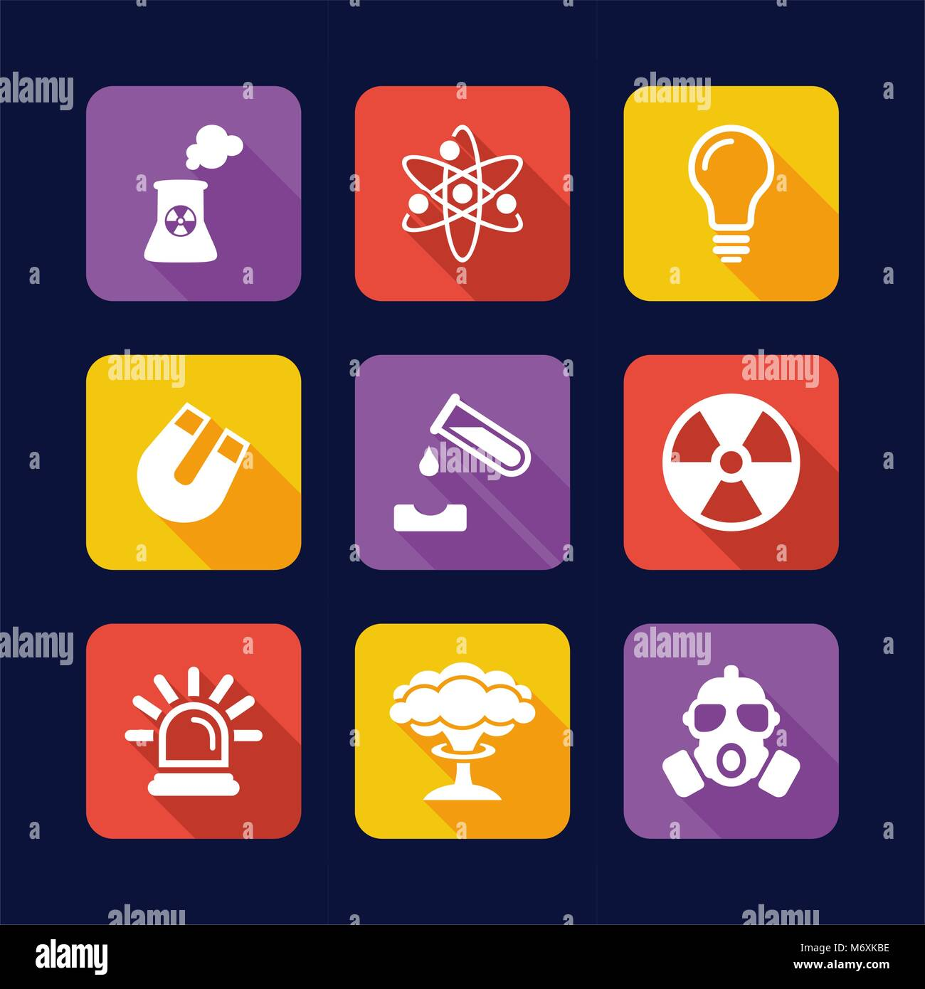 Nuclear Power Plant Icons Flat Design - Stock Vector