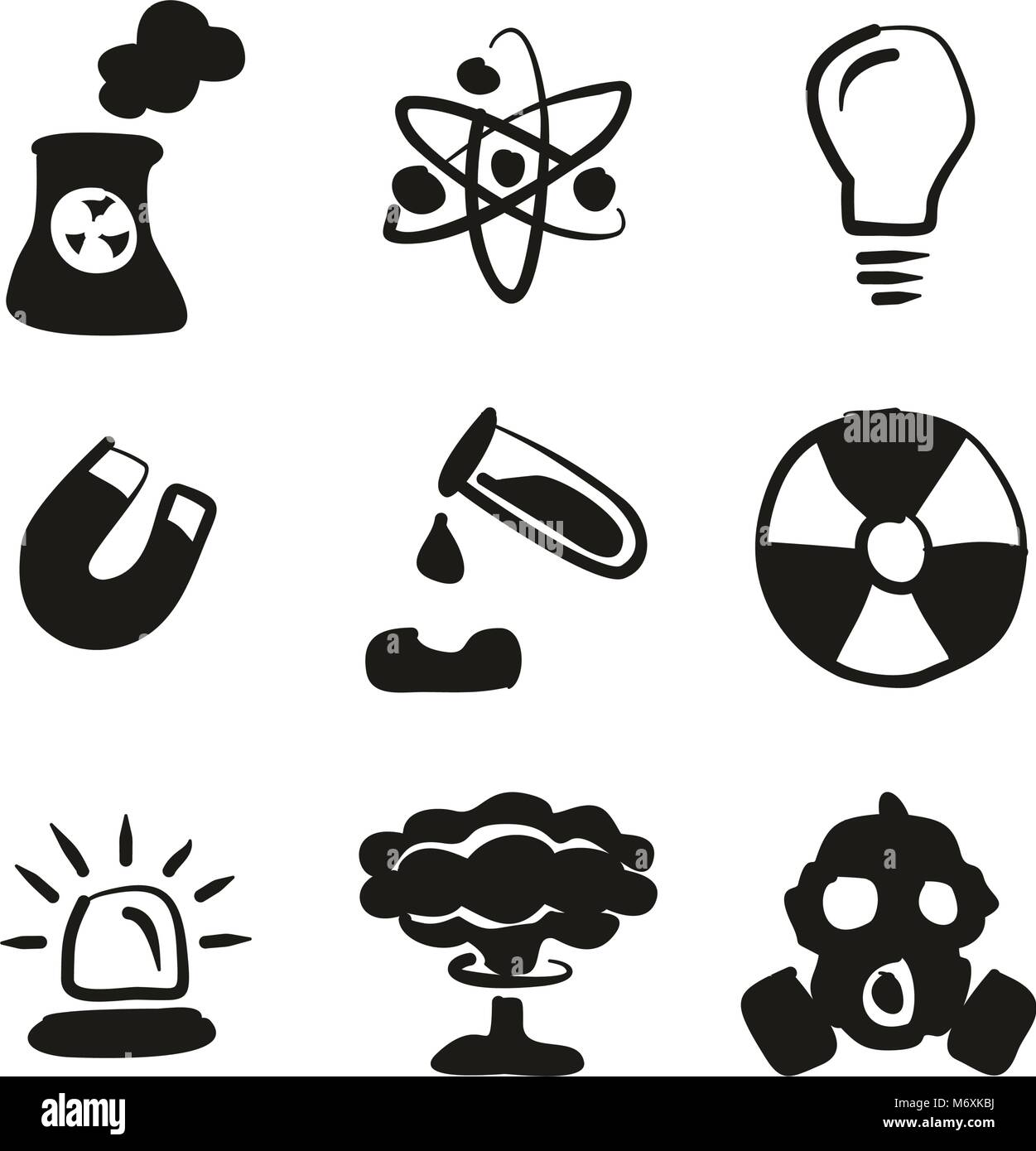 Nuclear Power Plant Icons Freehand Fill - Stock Vector