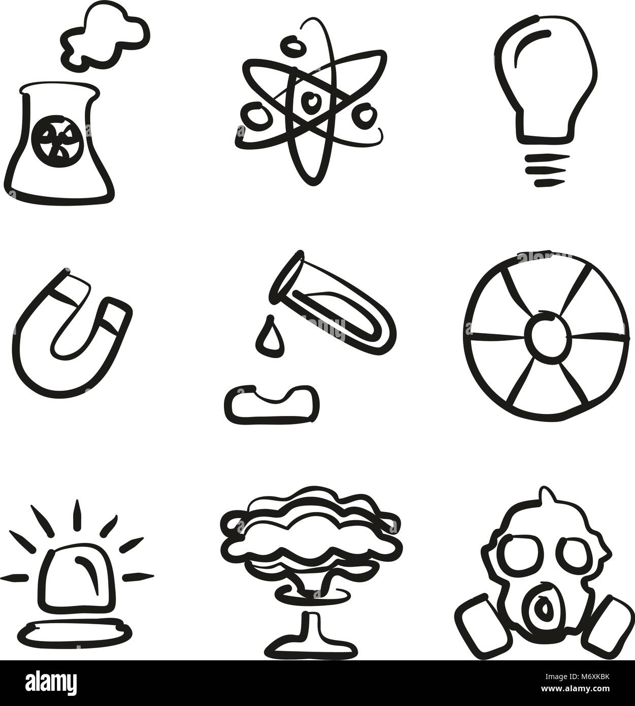 Nuclear Power Plant Icons Freehand - Stock Vector