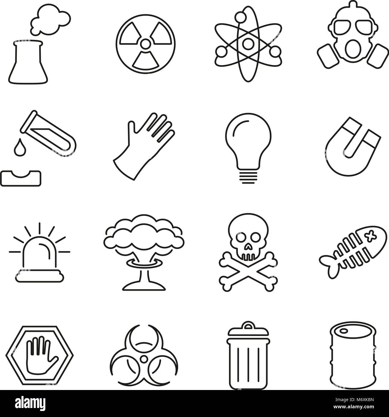 Nuclear Power Plant Icons Thin Line Vector Illustration Set - Stock Image