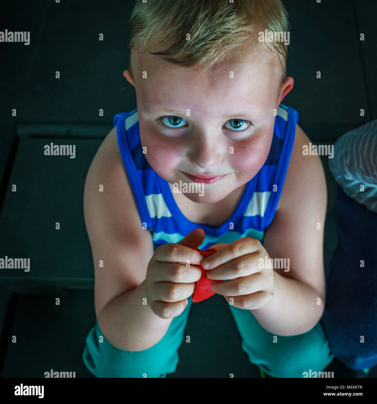 Portrait of a young boy, Reykjavik, Iceland - Stock Image