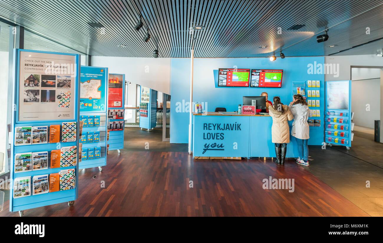 Tourist information desk at City Hall, Reykjavik, Iceland - Stock Image