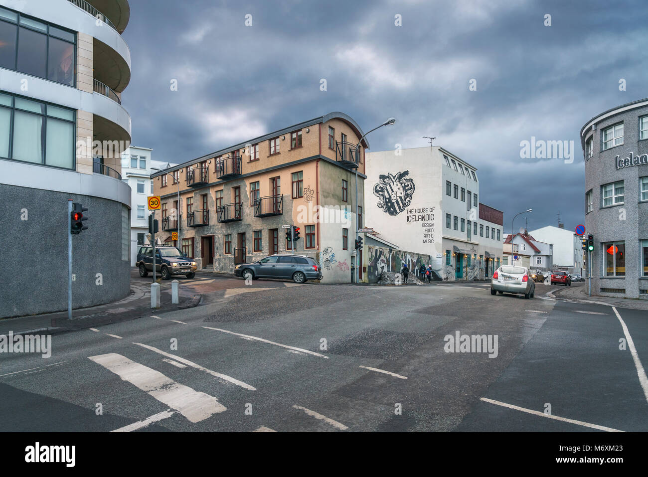 Empty street with older buildings, Reykjavik, Iceland - Stock Image