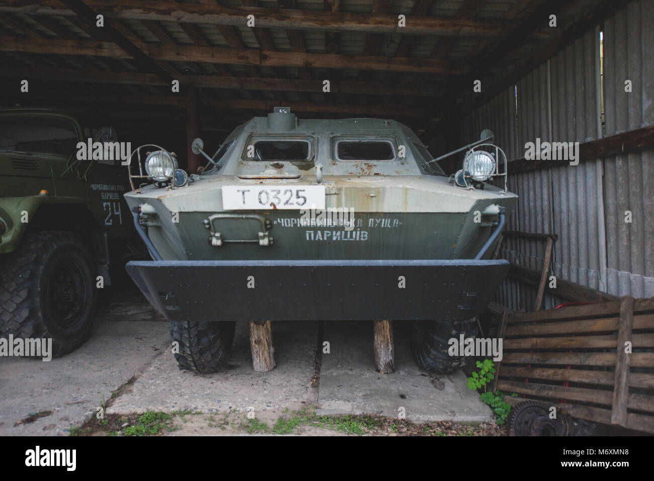 Ukraine, Chernobyl: Abandoned vehicles user for the decontamination of the Chernobyl nuclear power plant. Photo: - Stock Image