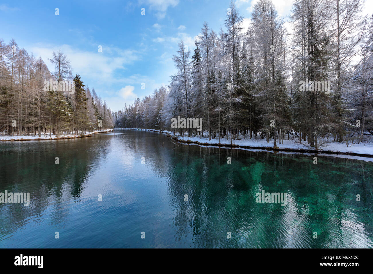 Kitch-iti-kipi Springs in the Upper Peninsula of Michigan, also known as the Big Spring at Palms Book State Park, Stock Photo