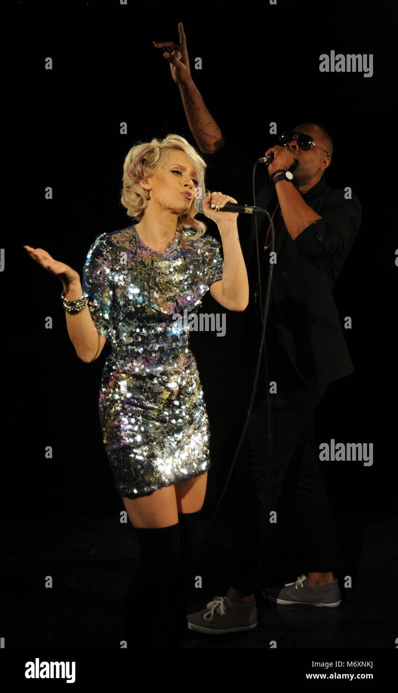 Kimberly Wyatt and Spencer Nezey of Her Majesty & the Wolves performing Stock Photo