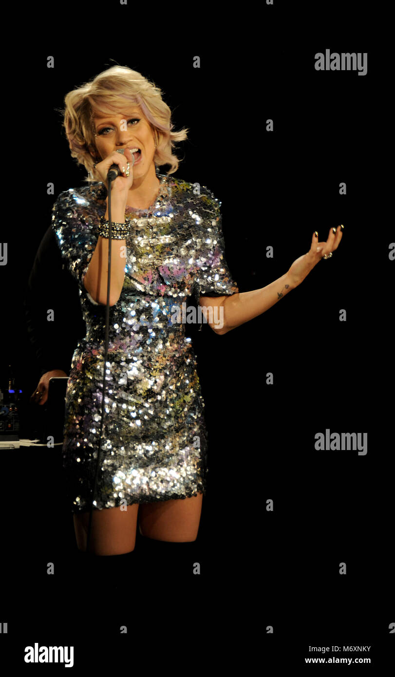 Kimberly Wyatt and Spencer Nezey of Her Majesty & the Wolves performing - Stock Image
