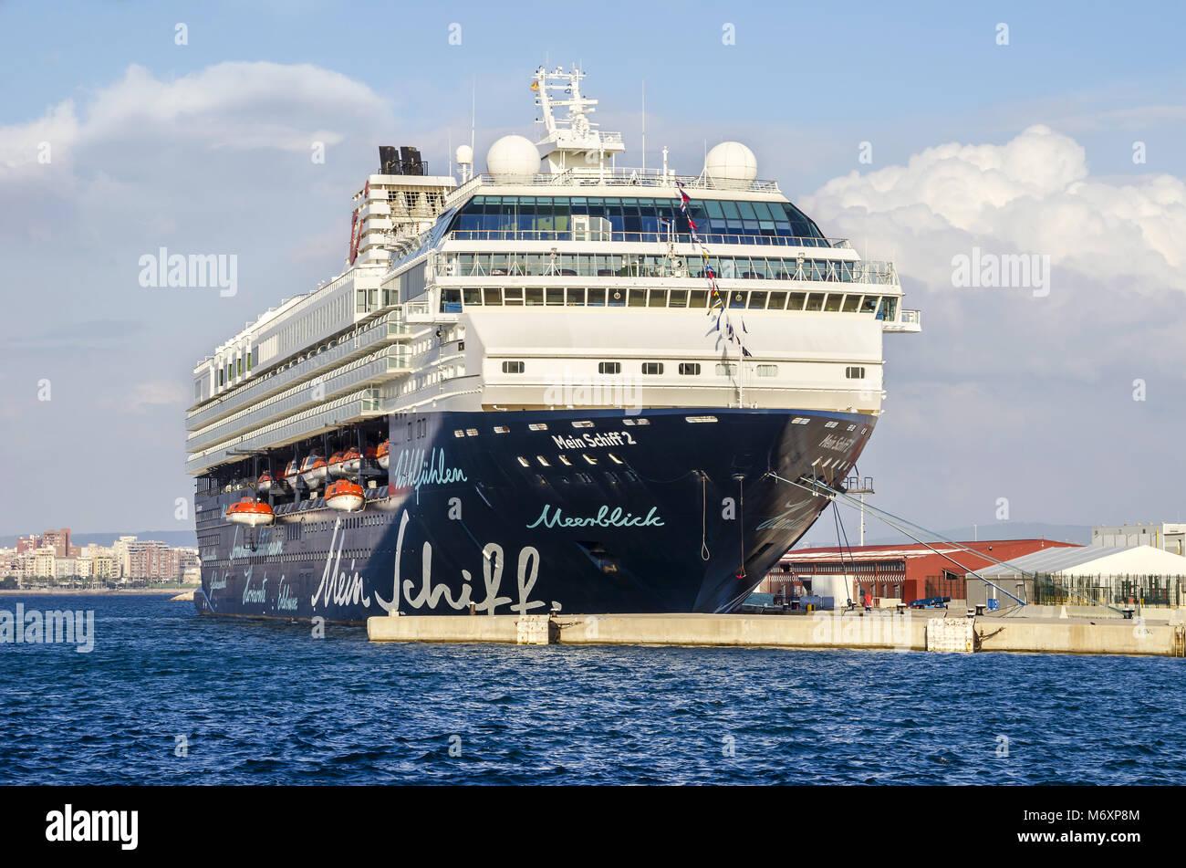 Palma de Mallorca, Spain - November 1, 2015:  Cruise liner Mein Schiff 2 of TUI Cruises anchored  in the harbour. - Stock Image