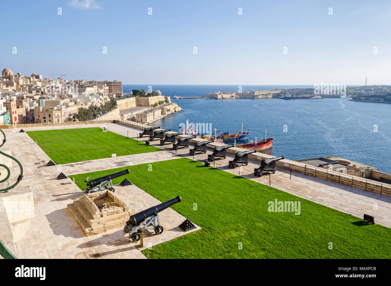Valletta, Malta - November 8, 2015: View of Valletta from the Upper Barrakka Gardens, with the Grand Harbour looking - Stock Image