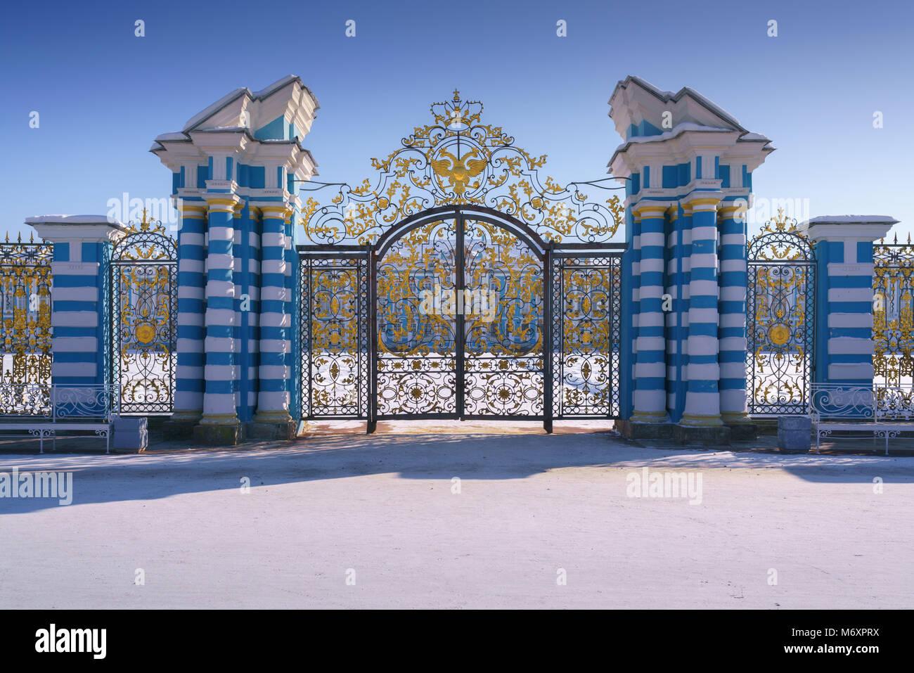 Golden gate in The Catherine Palace, Tsarskoye Selo, Pushkin, Saint-Petersburg, Russia - Stock Image