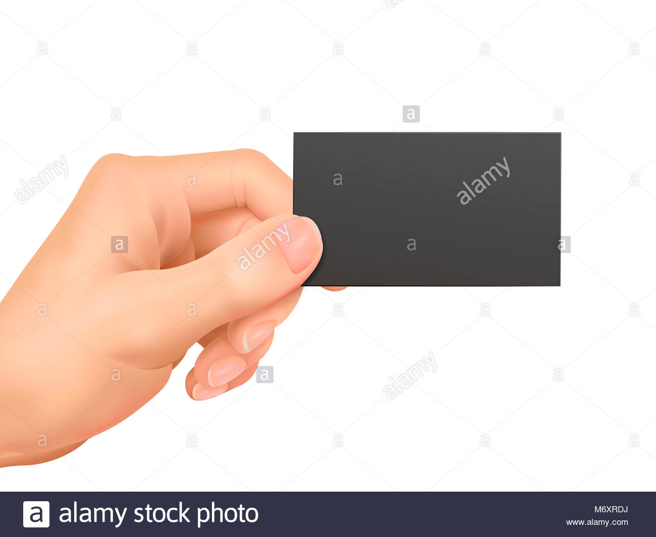 business concept: hand holding a business card over white background ...
