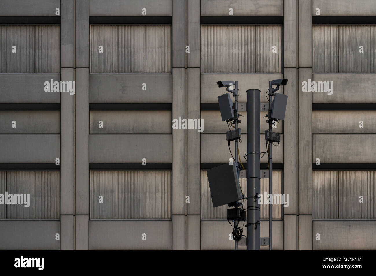 CCTV cameras and transmitters on a pole in Shinjuku, Tokyo, Japan Friday February 23rd 2018 - Stock Image