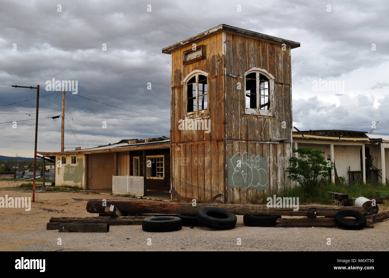 The former general store in the Route 66 ghost town of Goffs, California stands abandoned. Stock Photo