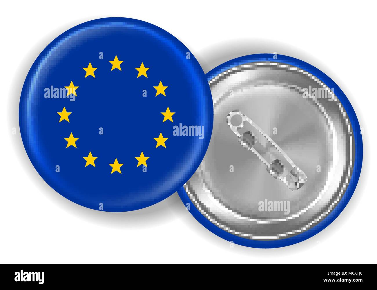 europe flag round brooch pin front and back Stock Vector Art