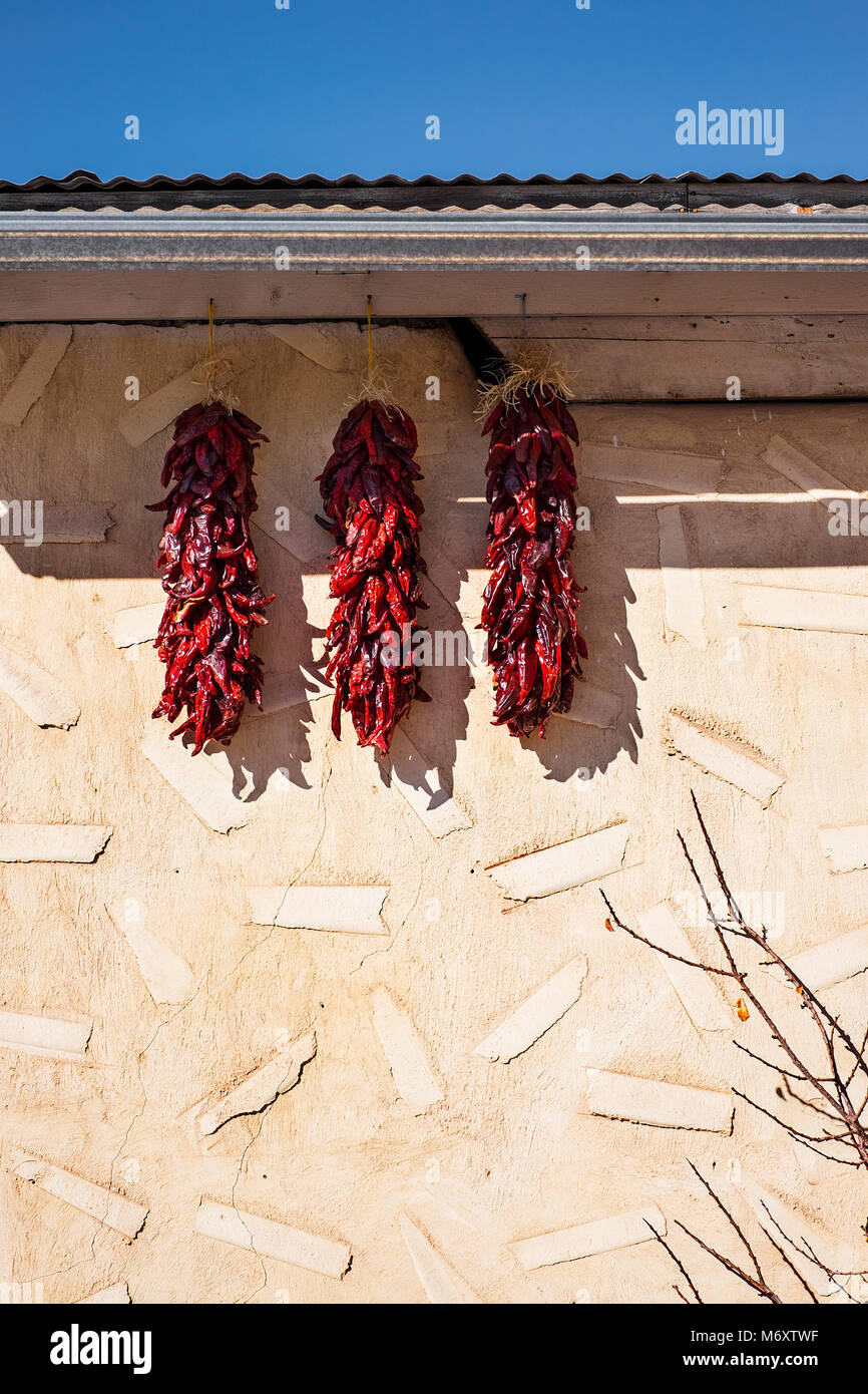 Chilis Outside a House - Stock Image