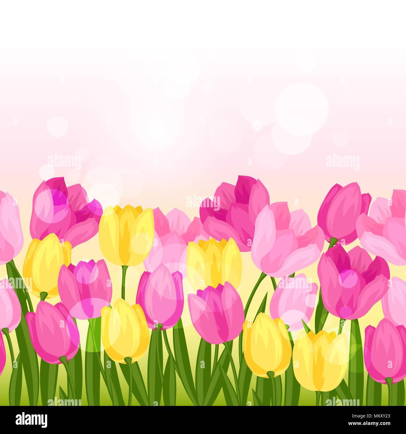 Spring flowers tulips seamless pattern horizontal border stock spring flowers tulips seamless pattern horizontal border mightylinksfo