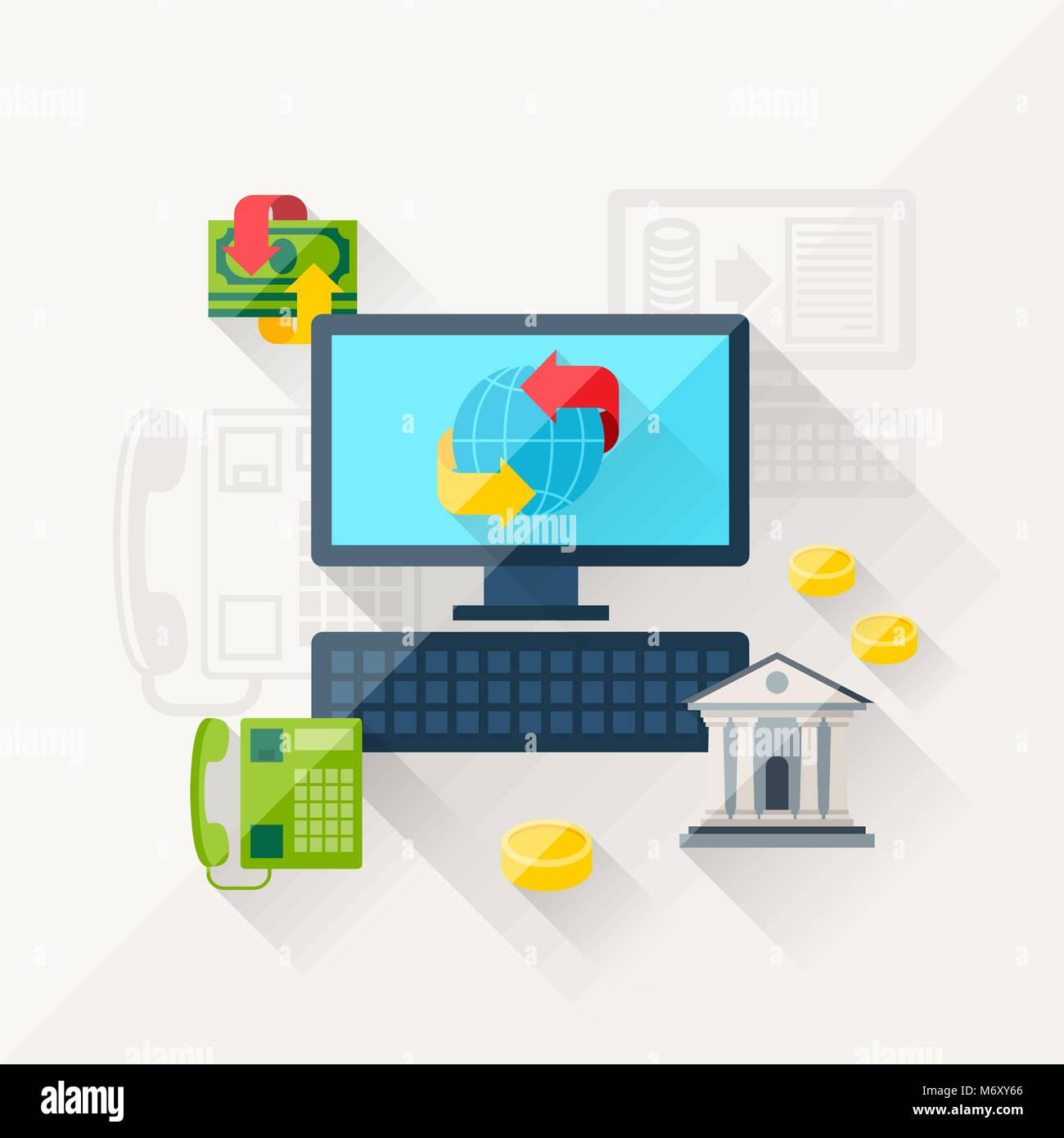 Illustration concept of banking online in flat design style - Stock Image
