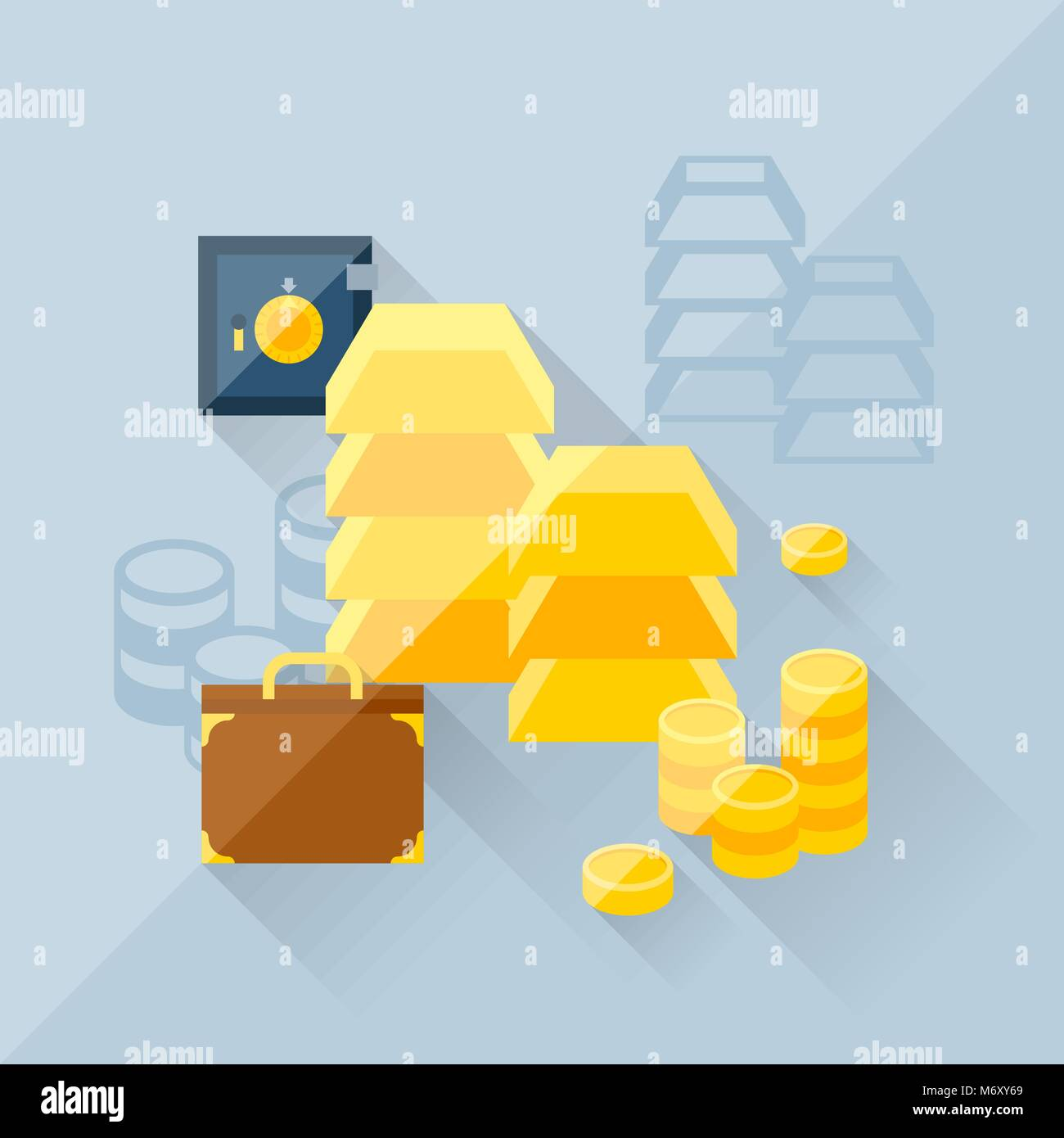 Illustration concept of precious metals in flat design style - Stock Image