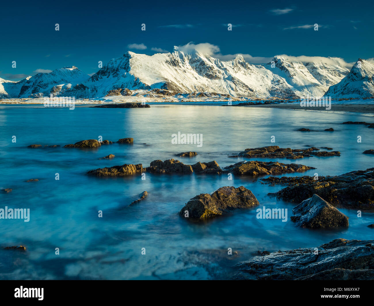 Fredvang in Lofoten during a cold winter day. - Stock Image