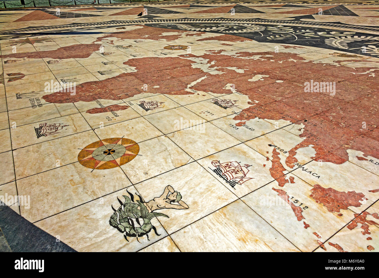 World Map At Monument To The Discoveries, Showing Explorations Lisbon Portugal - Stock Image