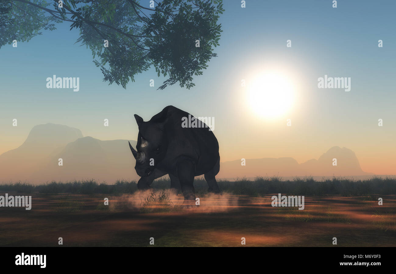 3D render of rhino ready to charge - Stock Image