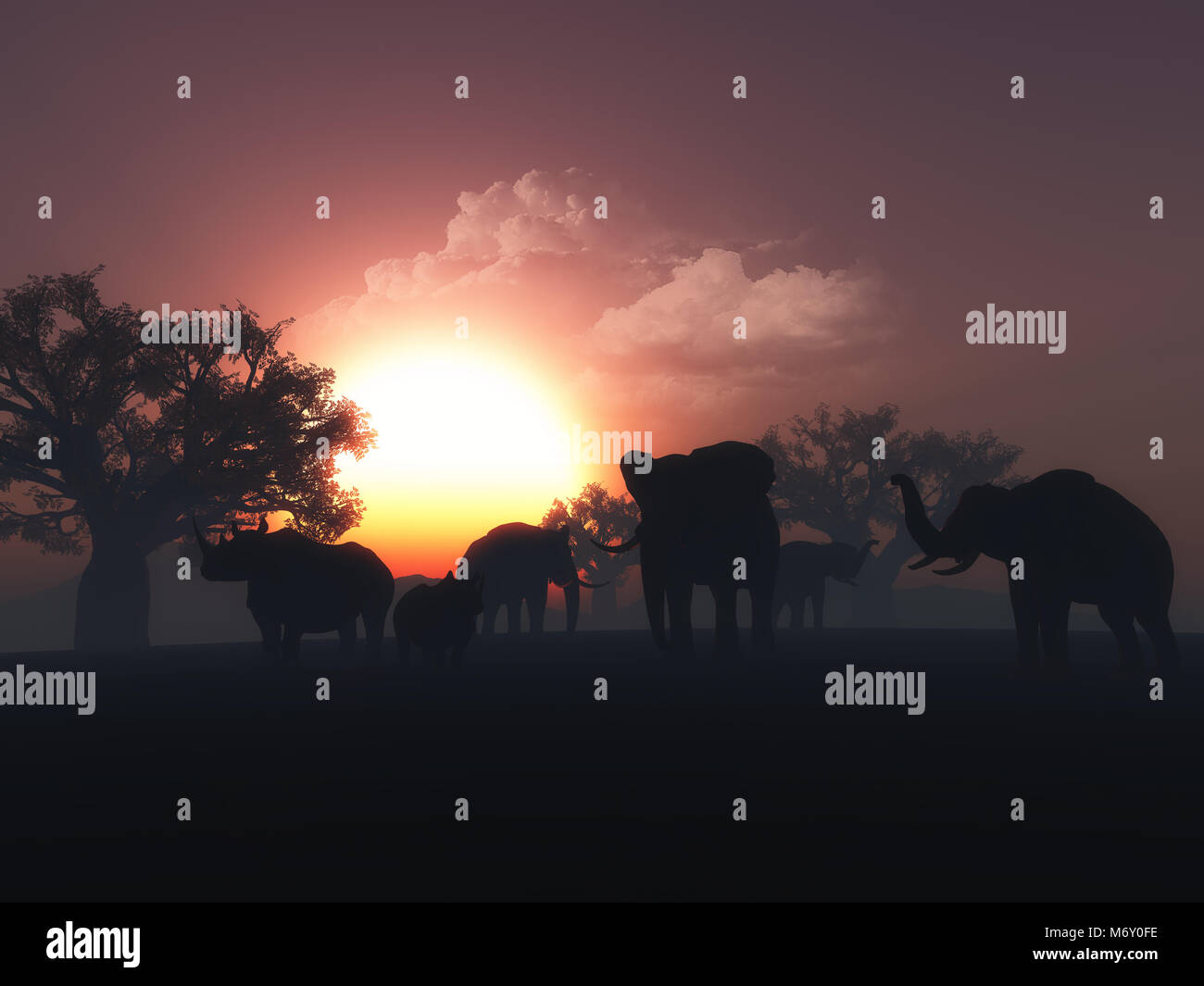 3D render of wild animals in a sunset landscape - Stock Image