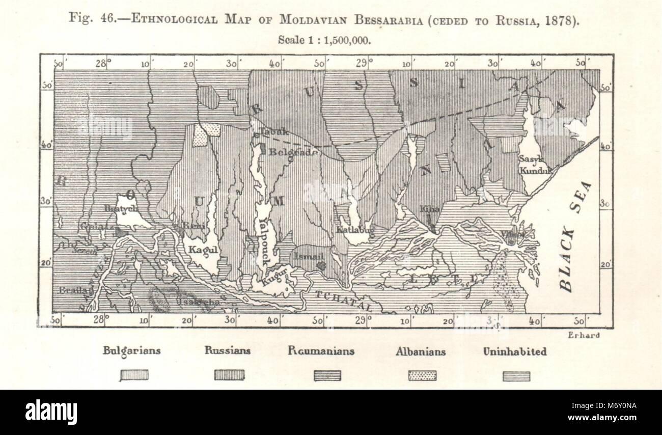 Moldavian Bessarabia ethnological map  Russia Ukraine Moldova