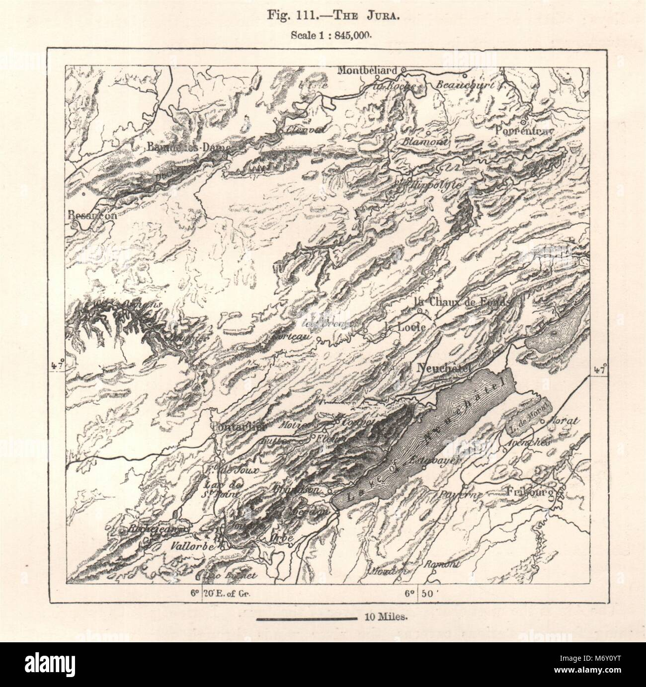 Map Of France Jura.The Jura France Switzerland Sketch Map 1885 Old Antique Plan Chart