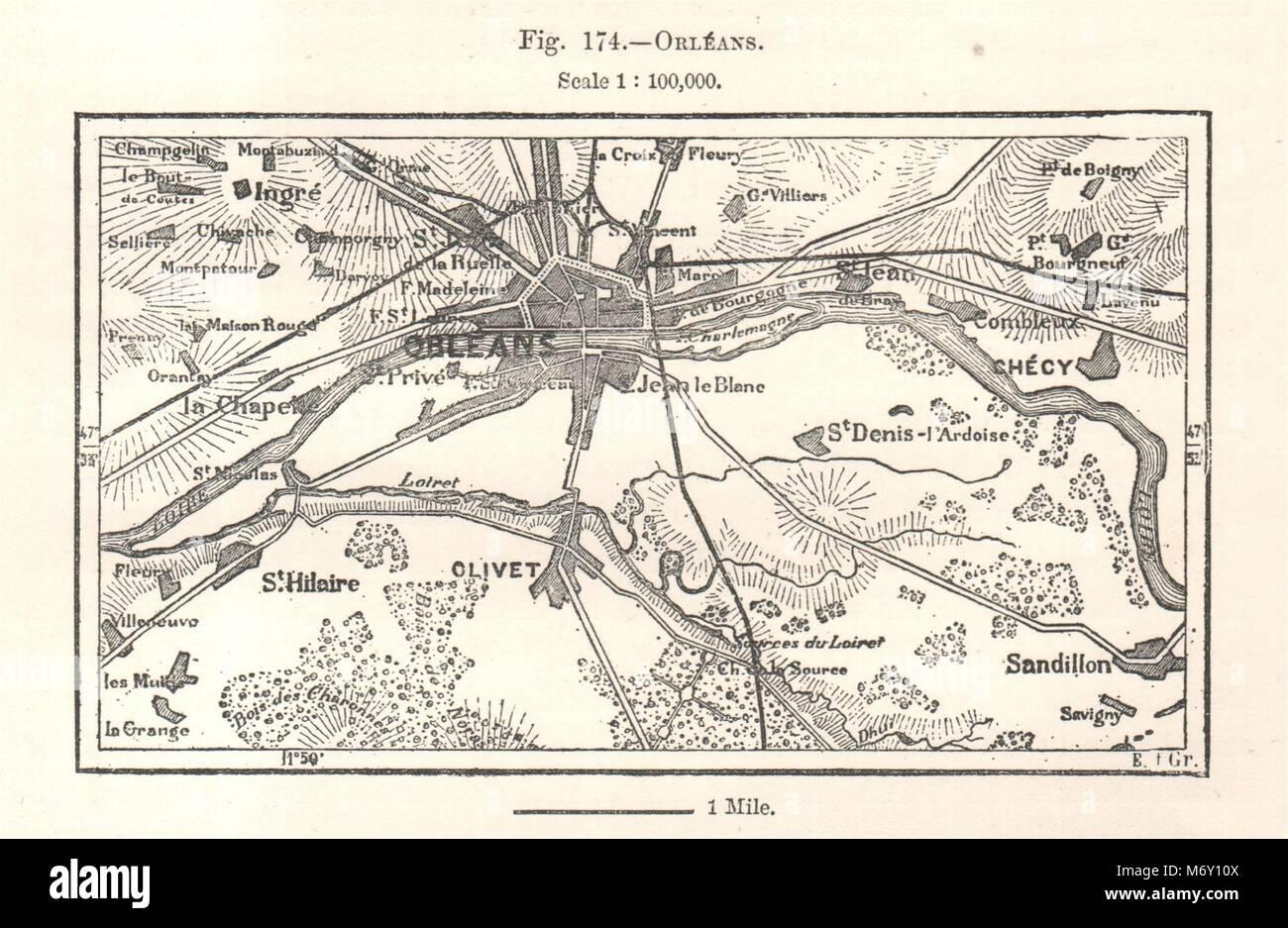 Orléans Orleans & Environs Loiret Sketch Map 1885 Old Antique Plan Chart