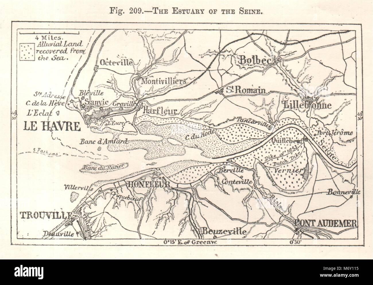 Pont de l/'Arche-Rouen-Honfluer-Le Havre Eure Seine-Maritime 1905 map LA SEINE