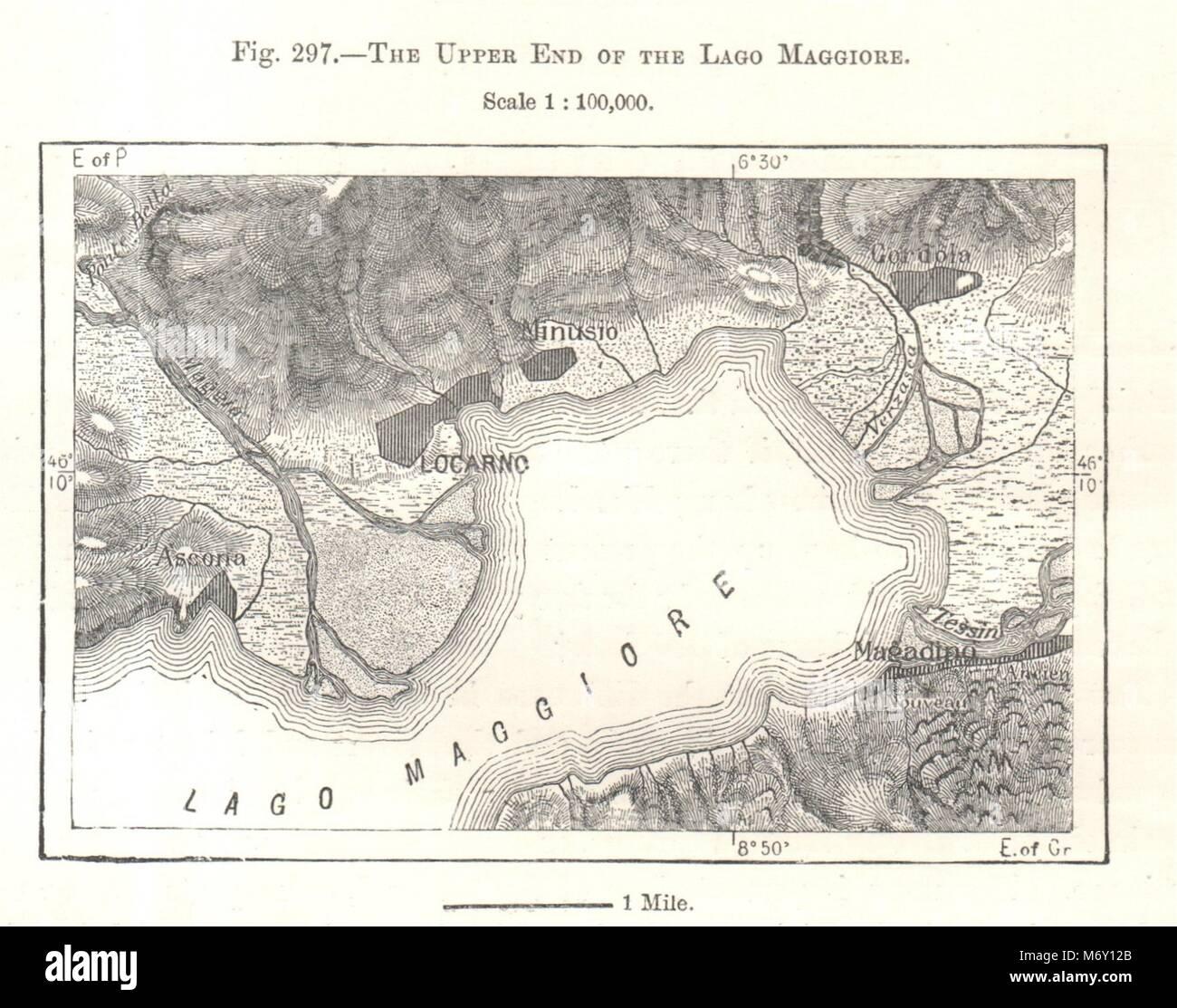 The Upper End of the Lake Maggiore. Locarno. Switzerland. Sketch map ...