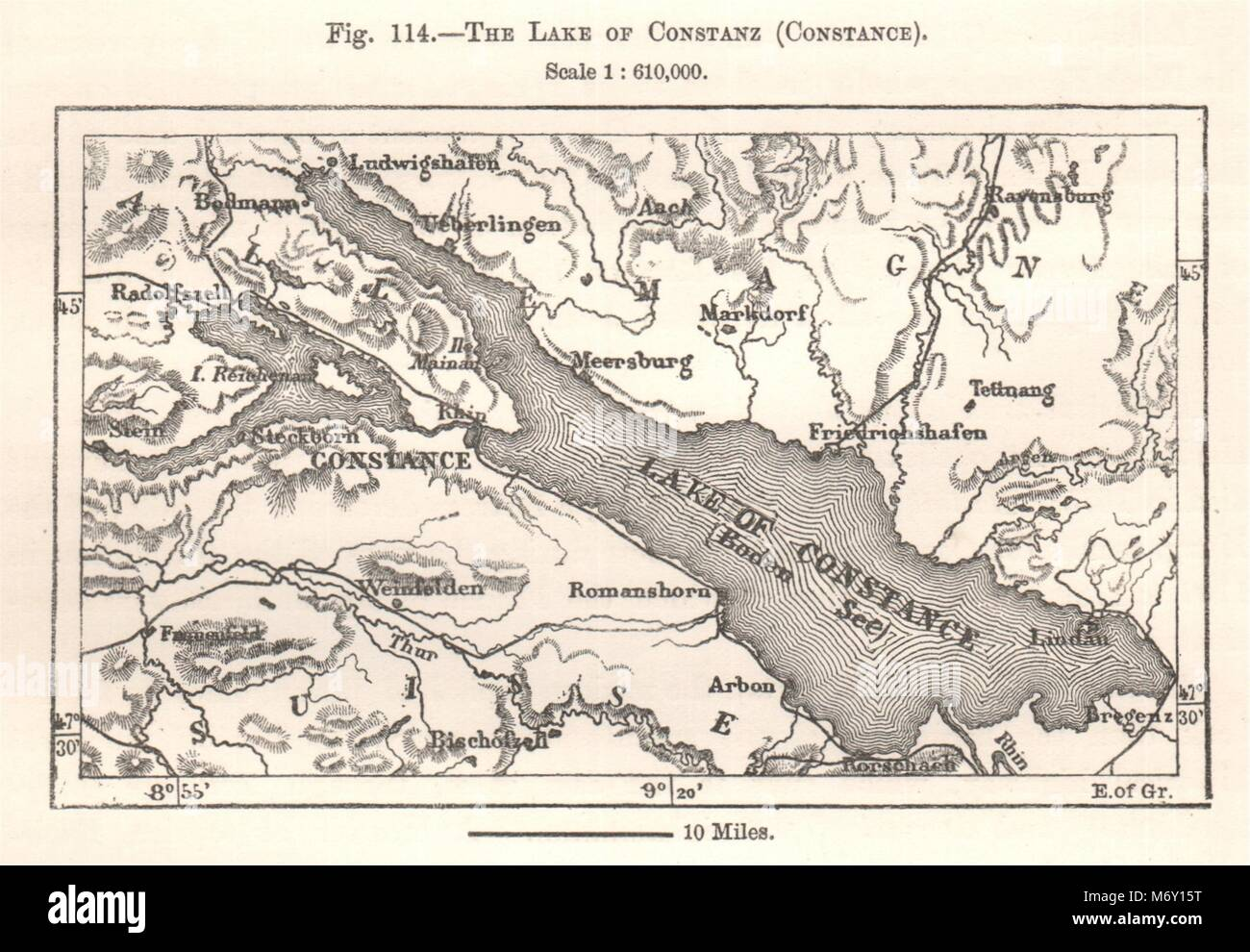 The Lake Constance Bodensee Switzerland Sketch Map 1885 Old