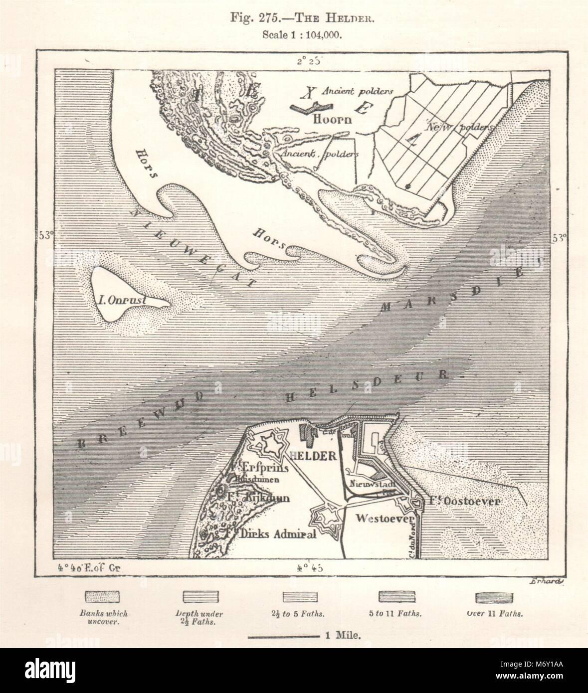 Den Hoorn Sketch map 1885 old antique Den Helder Texel Netherlands