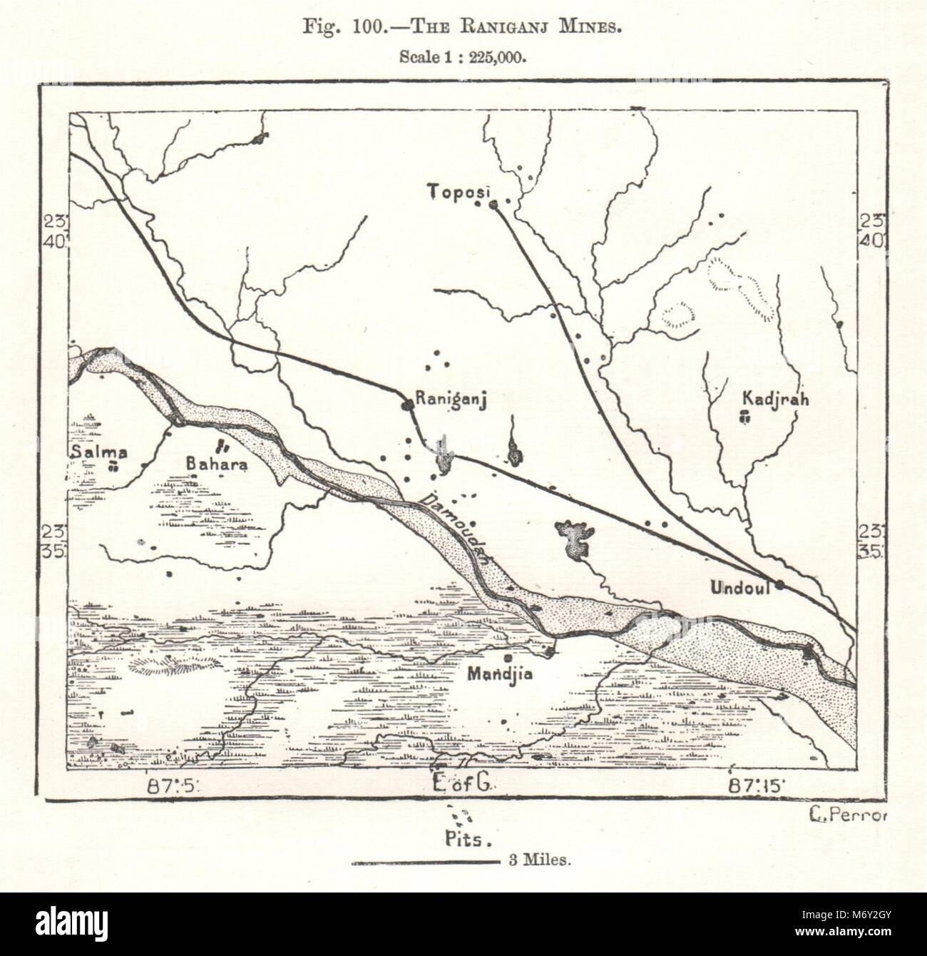 The Raniganj coalfields  Mines  India  Sketch map 1885 old
