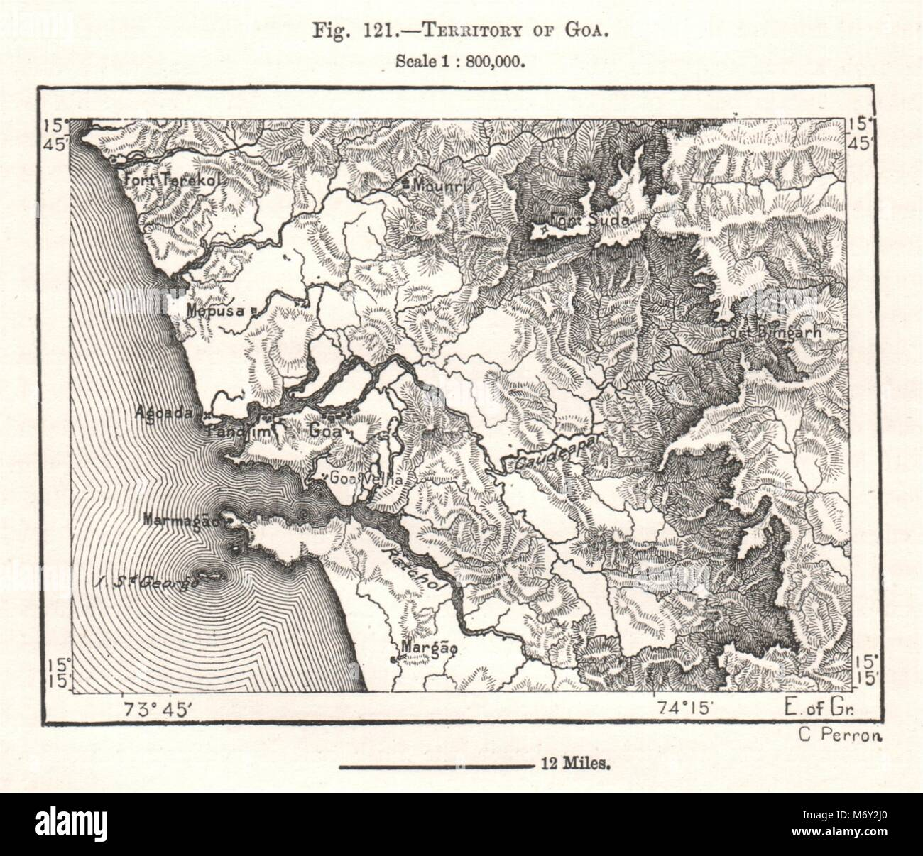 Vintage map of goa stock photos vintage map of goa stock images territory of goa india sketch map 1885 old antique vintage plan chart stock gumiabroncs Image collections