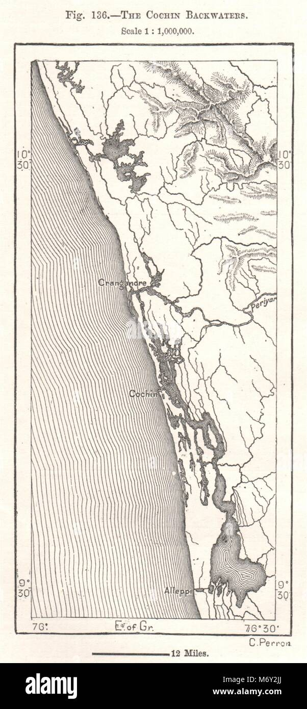 The Kochi Backwaters Kerala Cochin India Sketch Map 1885 Old