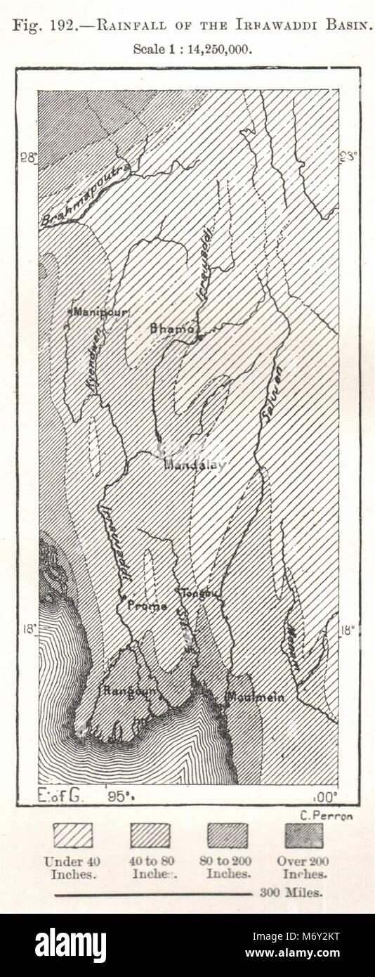 Sketch Map 1885 Old Antique Vintage Plan Chart Ramree And Cheduba Burma